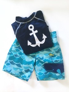 Preschooler swim suit shorts and long sleeved shirt
