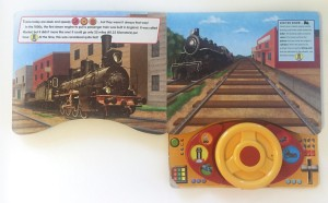 Inside Trains steering wheel book pages spread buttons sounds