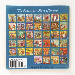 Back cover of Berenstain Bears picture book featuring cover images from lots of series titles