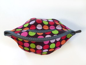 Top view of loaded BYO lunch bag sack made from neoprene