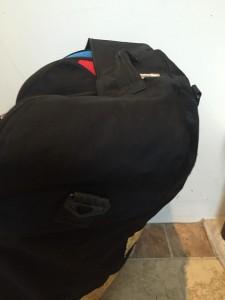 Handle on the car seat travel bag wheelie