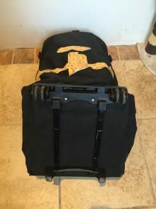 Tape on back of car seat travel bag repair