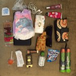 Contents of parent with young kids out of diapers laid out