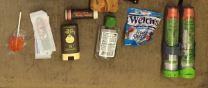 Lollipop sucker band-aids sunscreen lip balm, hand sanitizer, fruit gummies snack and epipen Jr from bag laid out