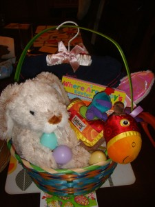Easter basket for older infant stuffed with goodies
