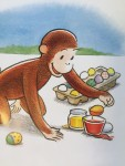 Curious George monkey dying Easter eggs from Happy Easter book