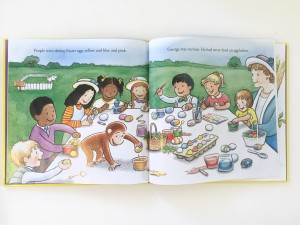 Curious George joins kids in dying Easter eggs at a park page spread from Happy Easter book