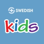 Logo from Swedish hospital for health app for kids on blue background