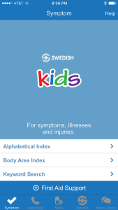 Screenshot from kids health app from hospital
