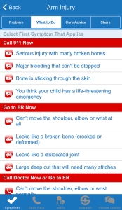 Screenshot of what to do for arm injury from kids health app