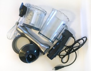 Accessories and pieces of Breville immersion blender