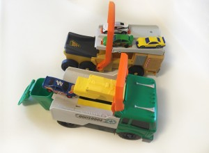 Garbage truck and mlitary vehicle power launcher hot wheels matchbox cars loaded side by side