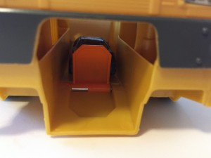Close up of car ready to launch from Matchbox power launcher vehicle