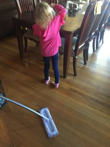 Child shown near Omop mop from Method