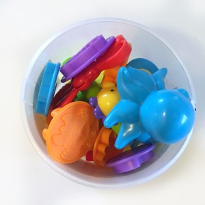 Play Doh toys stored in included bucket