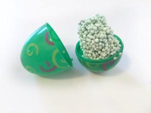 Playfoam green stored inside green plastic easter egg