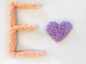 playfoam letter E orange and purple heart