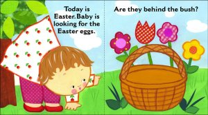Inside page spread from Where are baby's Easter eggs board book