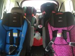 Convertible and booster car seats four installed two per row