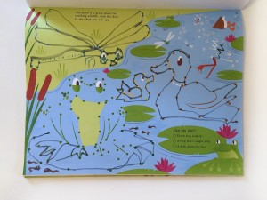 Pond page from usborne's big dot to dot activity pad workbook
