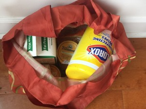 Inside an Envirosax bag loaded with groceries