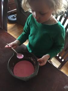 Child mixing gloop