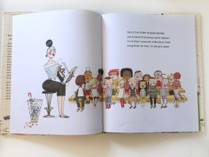 Pages spread from Rosie Revere Engineer by Andrea Beaty inside classroom