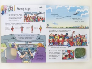 Page with story from airplane wind up book from Usborne