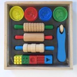 Melissa & Doug Shape Model and Mold Clay activity set with three rollers and four containers of play clay