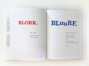 Page spread from Book With No Pictures Blork Bluurf