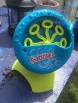 Fubbles Bubble Blastin' Machine in blue and green automatic bubble blower