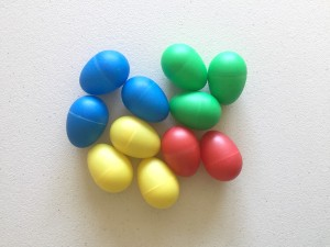 Musical egg shakers in a pile