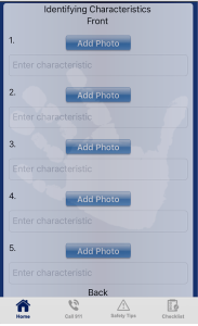 FBI Child ID app screen shot of identifying charateristics
