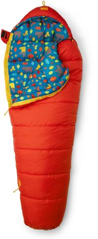 Kids Kindercone sleeping bag from REI in lava orange color with abstract animal and leaf print interior
