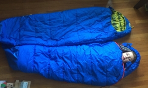 REI Kindercone next to REI Nodder sleeping bag