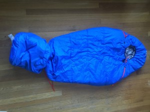Stuff sack adjustment on REI Nodder kids sleeping bag in blue