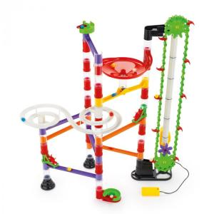 Quercetti 6575 marble run with motorized elevator spiral and red funnel pieces