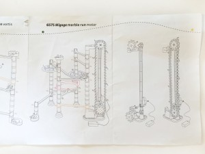 Quercetti Migoga marble run with motorized elevator assembly illustration instructions