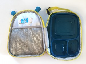 Skip Hop Lunch bag in blue and yellow hippo shown open