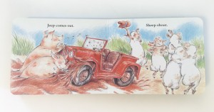 Page spread and rhyming text from Sheep in a jeep board book