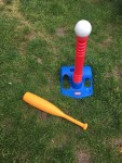 Little Tikes T-Ball set with orange bat, white oversized baseball, and blue and red tee