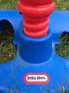 Close up of adjustable screw attachment for Little Tikes t ball set
