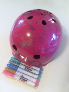 Wipeout helmet with five dry erase markers