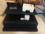 G.U.S. Multi device charging station with drawer black leatherette with white stitching