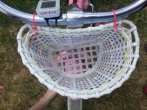 Inside view looking down into light up bike basket on girls bike