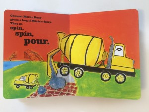 Concrete mixer page from Mighty Dads board book