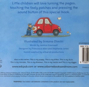 Back cover of This Is My Car by Usborne board book