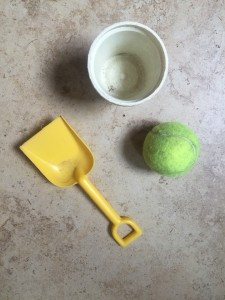 Three cheap or no cost items for summer fun shovel tennis ball empty yogurt container