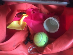 Shovel, tennis ball, and yogurt cup stacks stored underneath Bugaboo Frog stroller