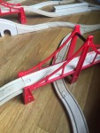 Brio double suspension bridge red wooden train track piece